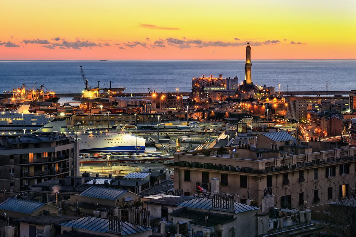 port of Genoa at sunset, Liguria, Italy