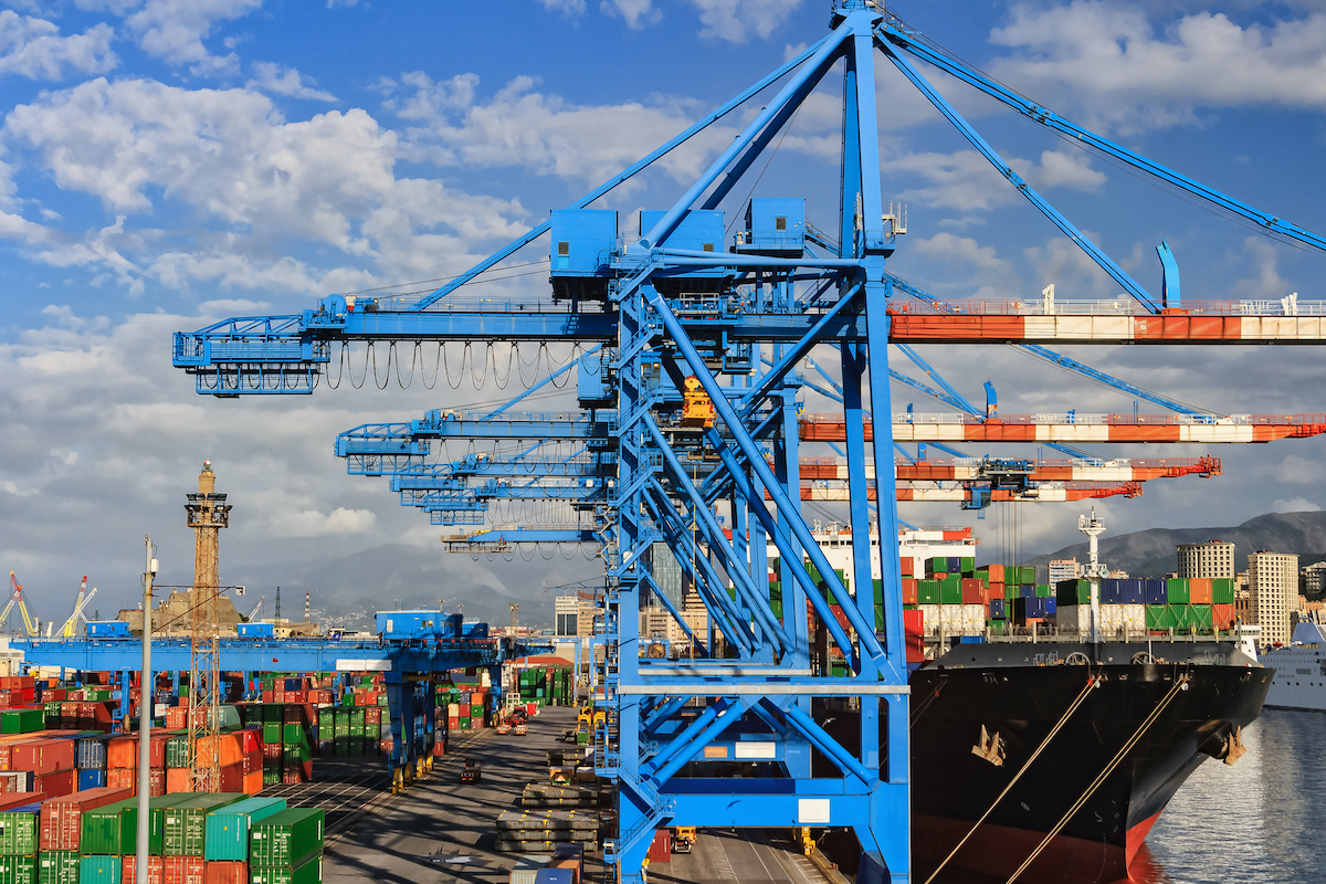 Shipping and container terminal in the port of Genoa , Italy